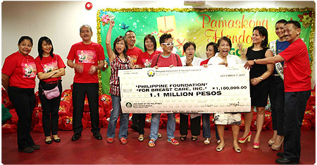 PAGCOR gives P1.1-M financial aid to the Philippine Foundation for Breast Care, Inc. for the benefit of breast cancer patients