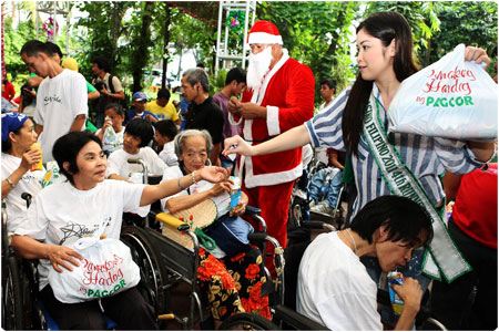 Over a hundred Cerebral Palsy patients and handicapped from Quezon City receive Christmas gifts from PAGCOR