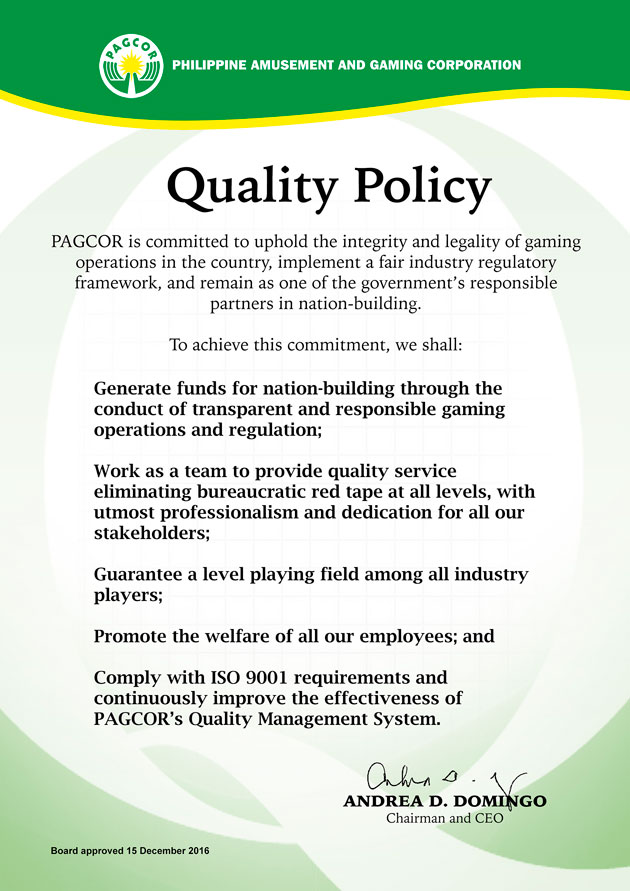 PAGCOR Quality Policy