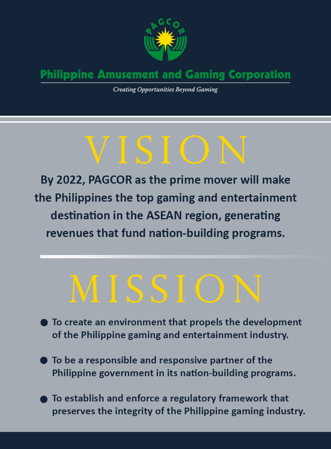 PAGCOR Vision & Mission