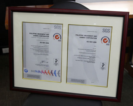 PAGCOR is now ISO 9001:2008 certified